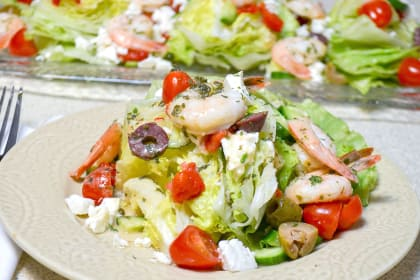 Mediterranean Shrimp Wedge Salad