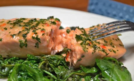Roasted Salmon with Wilted Greens Recipe