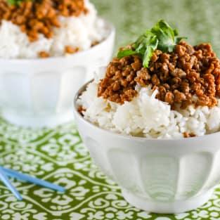 Gluten free korean turkey and rice bowl photo