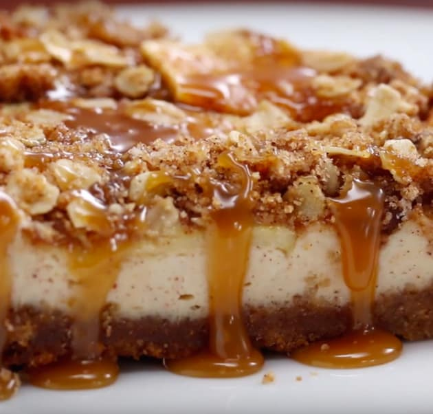 Slice of Caramel Apple Crumble Cheesecake