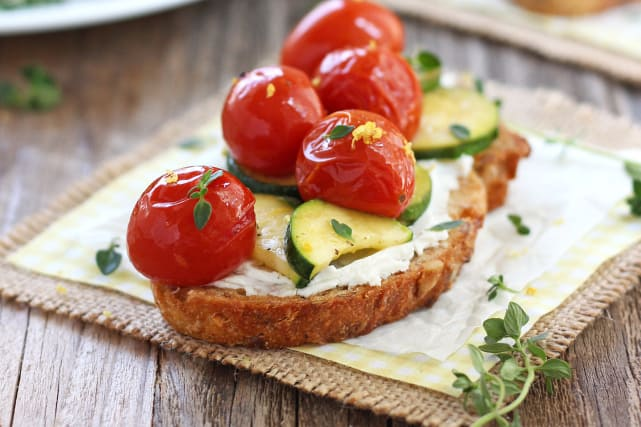 Roasted Zucchini and Tomato Crostini Recipe