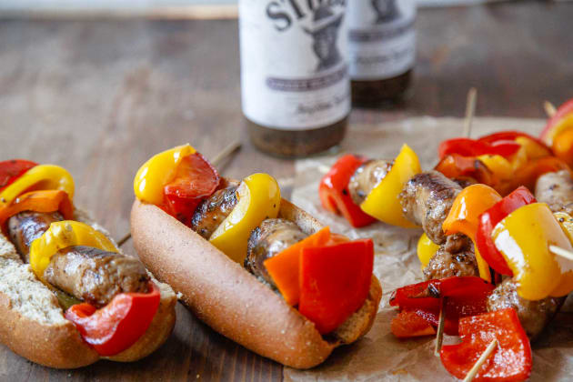 Bratwurst and Bell Pepper Skewers Photo
