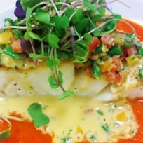 Seabass with Red Pepper and Cheese Sauce