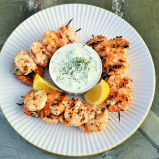 Greek shrimp with tzatziki sauce photo