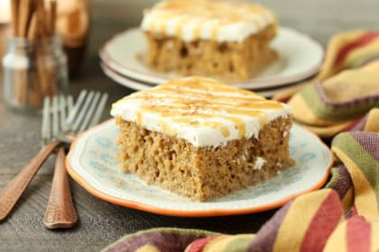 Pumpkin Spice Latte Poke Cake