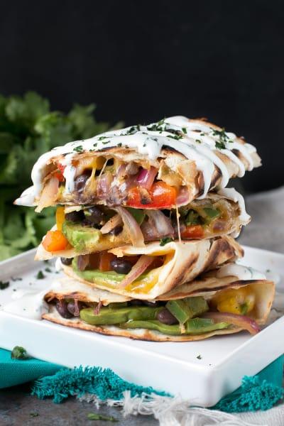 Veggie Avocado Quesadilla with Cilantro Crema Image