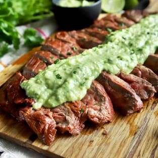 Chipotle flank steak with avocado salsa photo