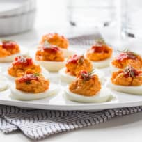 Harissa Goat Cheese Deviled Eggs Recipe