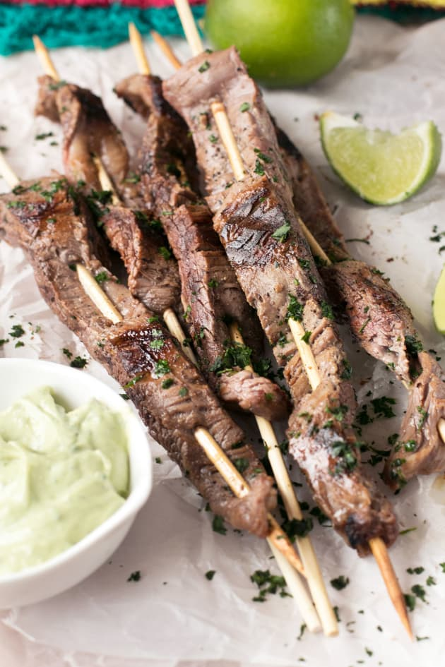 Cilantro Lime Grilled Beef Skewers with Jalapeño Avocado Dipping Sauce Picture
