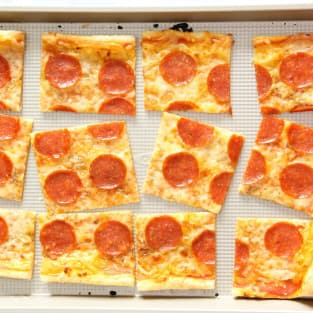 Puff pastry pepperoni pizza photo