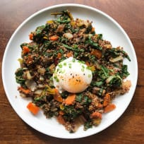 Red Quinoa Plate with Chard, Carrots, Onion, and Poached Egg