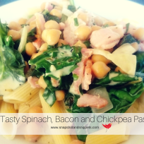 Spinach and Bacon and Chickpea Pasta