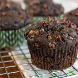 Double chocolate zucchini muffins photo