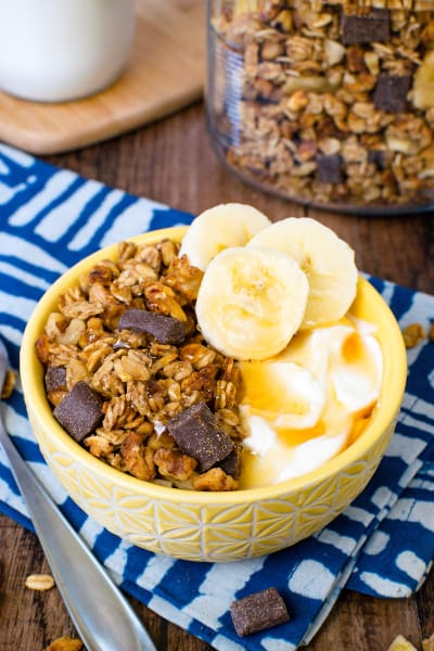 File 1 Peanut Butter Banana Chocolate Chunk Granola