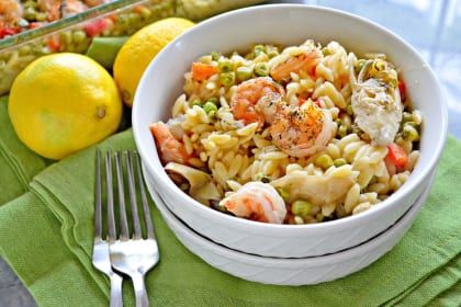 One Pan Lemon Artichoke & Shrimp Orzo