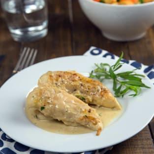 Chicken in mustard tarragon sauce photo