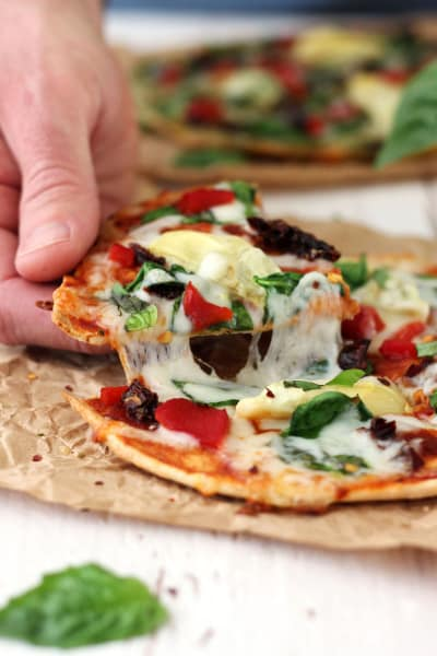 Tortilla Pizzas with Sundried Tomatoes & Spinach Picture