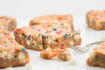 Funfetti Blondies with a Malted Milk Twist