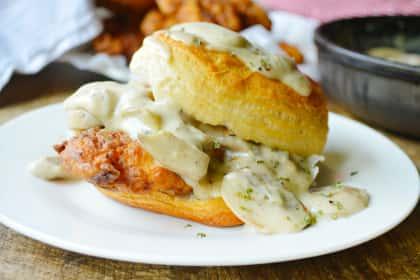 Chicken Biscuits with Mushroom Gravy