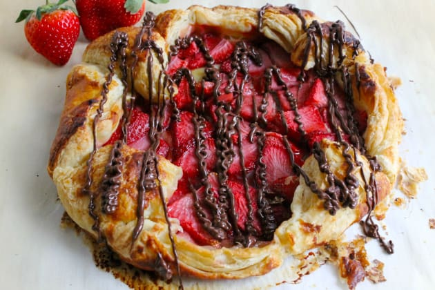 Puff Pastry Chocolate Strawberry Galette Photo