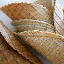 Lemon and Poppy Seed Waffle Cones