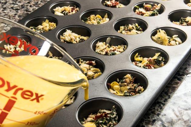 Spinach Artichoke Mini Frittatas Preparation Photo