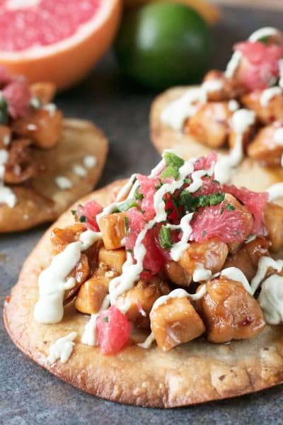 Spicy Chicken Tostadas with Avocado Sauce Image