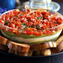 Avocado Ricotta Tomato Pesto Layer Dip Recipe