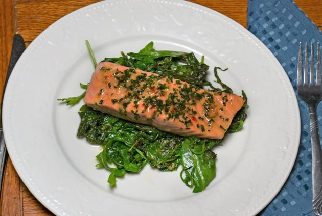Roasted Salmon with Wilted Greens Picture