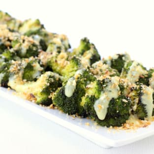 Roasted broccoli with buttery bread crumbs photo