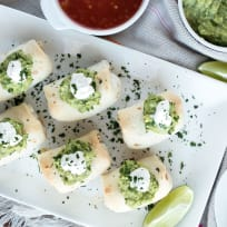 Baked Mini Chimichangas with Creamy Spicy Guacamole Recipe