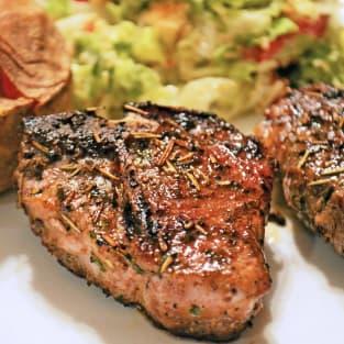 Pan fried lamb chops with rosemary photo