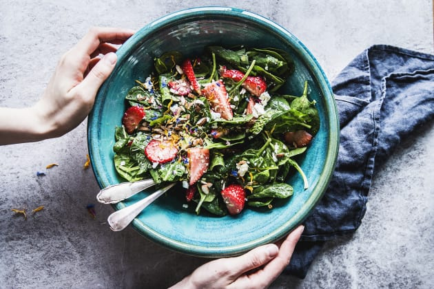 Strawberry Spinach Salad with Feta and Avocado Photo
