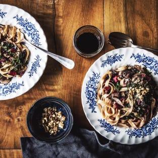 Mushroom swiss chard pasta photo