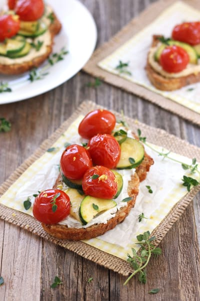 Roasted Zucchini and Tomato Crostini - Food Fanatic