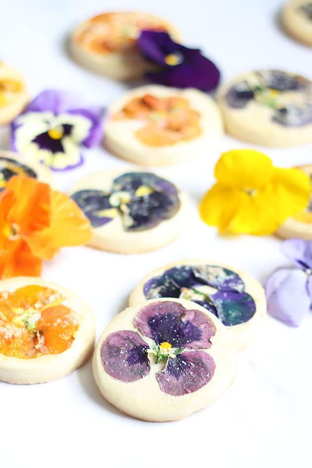 Orange Cookies with Edible Flowers Picture
