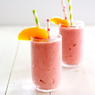Raspberry peach cottage cheese smoothie photo