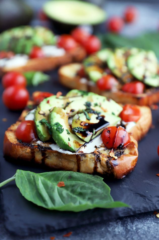 Grilled Open-Faced Avocado Caprese Sammies Picture