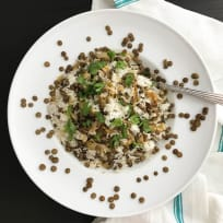 Mujaddara (lentils and rice) with Fried Onions and Spiced Yogurt