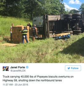 Popeye's Biscuit Truck Crashes, Twitter Reacts to Delicious Catastrophe