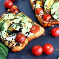 Grilled Open-Faced Avocado Caprese Sammies Recipe