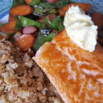 Salmon with Summer Vegetables and Cauliflower Couscous
