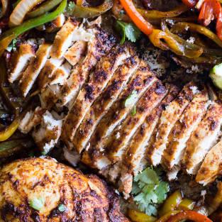 Sheet pan chicken fajitas photo