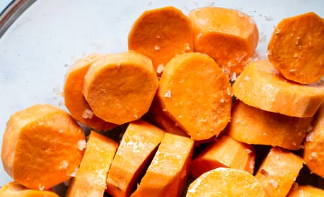 Roasted Tahini Maple Sweet Potatoes Picture
