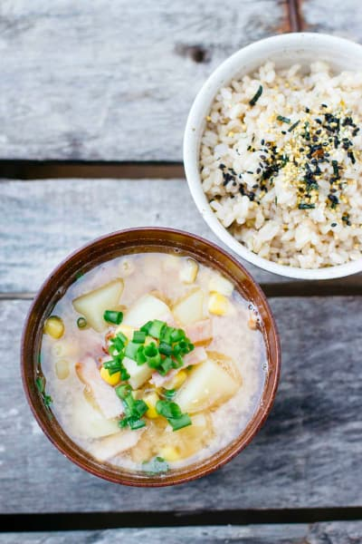 Potato Corn Miso Soup with Bacon Image
