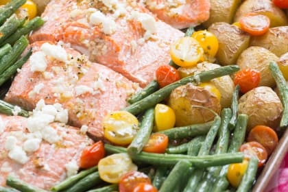 Mediterranean Salmon Sheet Pan Dinner