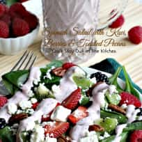 Spinach Salad with Kiwi, Berries and Roasted Pecans