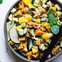 Thai Mango Avocado Salad with Grilled Sweet Potatoes Recipe
