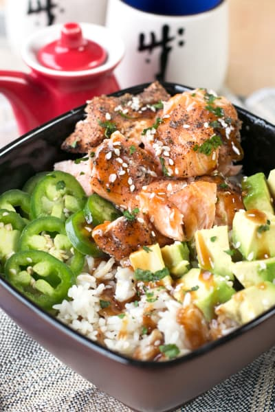 Spicy Sesame Salmon Avocado Bowls Image