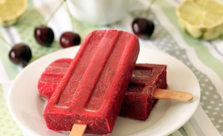 Cherry Lime Popsicles